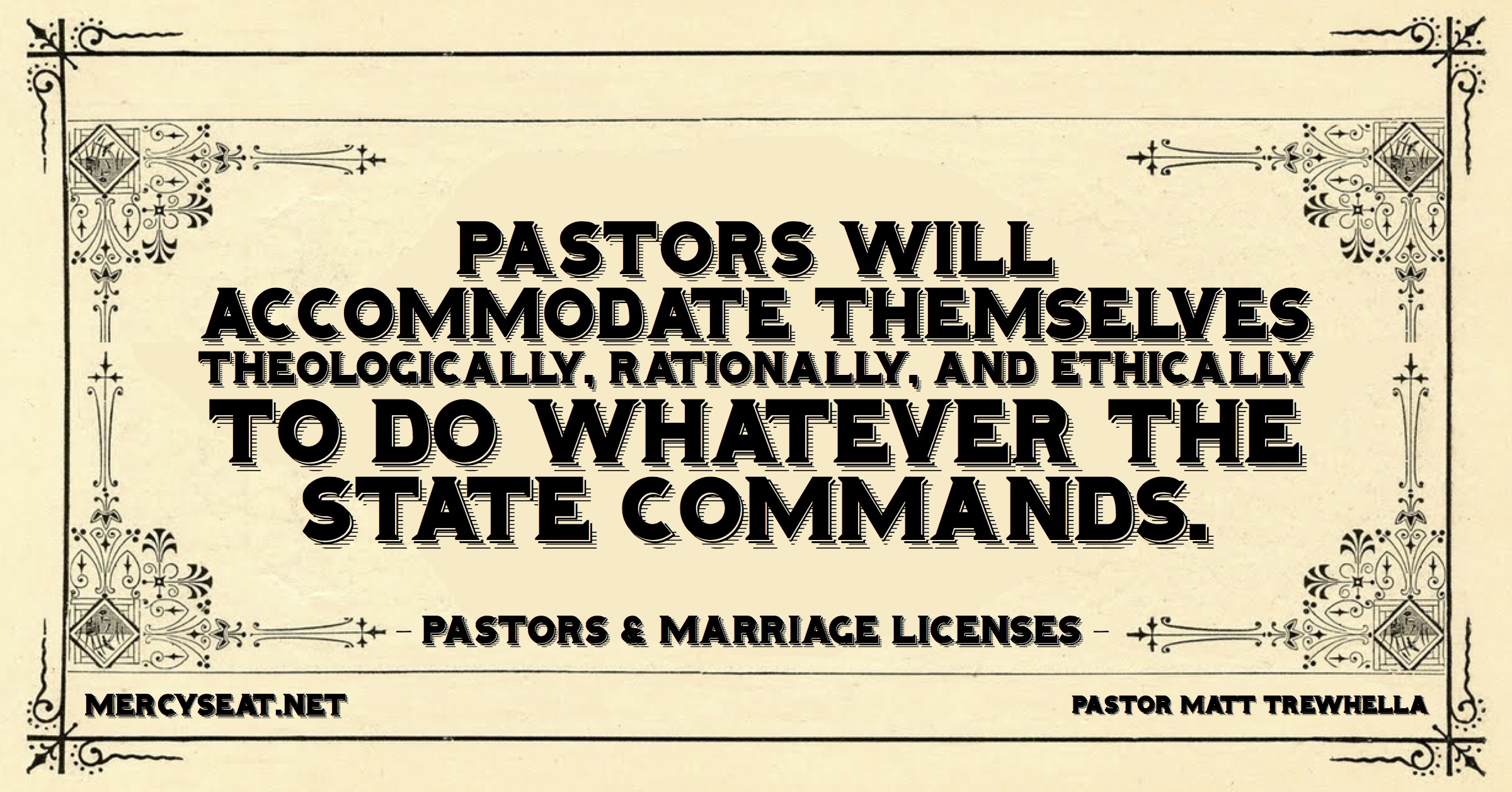 Pastors and marriage licenses