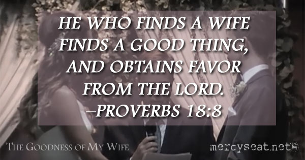 He who finds a wife finds a good thing, and obtains favor from the Lord. –Proverbs 18:8 - MercySeat.net